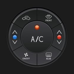 Car air conditioner control panel. Black buttons. Vector 3d illustration